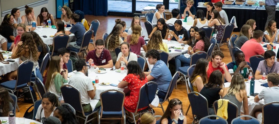 An aerial shot of students in a dining hall